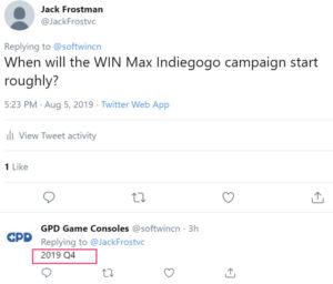 gpd win max 発売日