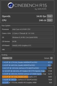 OneMix 3s 実機 Cinebench