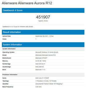 Alienware Aurora R12 geekbench